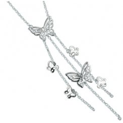 Silver Butterfly Necklace With Strands