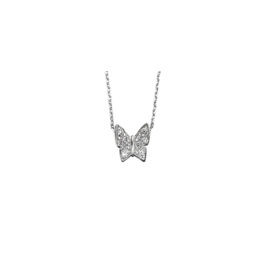 Cherubs Jewellery Silver Butterfly Pendant Set With CZ