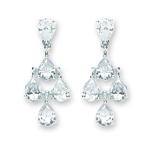 Cherubs Jewellery Silver Chandelier Earrings Set With Five Pear Shaped CZ Stones
