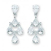Silver Chandelier Earrings Set With Five Pear Shaped CZ Stones