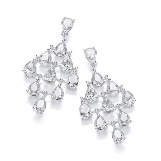 Cherubs Jewellery Silver Chandelier Earrings With Pear Shaped Cubic Zirconia Stones