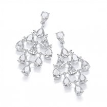 Silver Chandelier Earrings With Pear Shaped Cubic Zirconia Stones