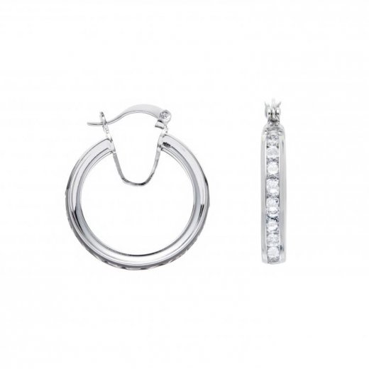 Cherubs Jewellery Silver Channel Set Cubic Zirconia Hoop Earrings