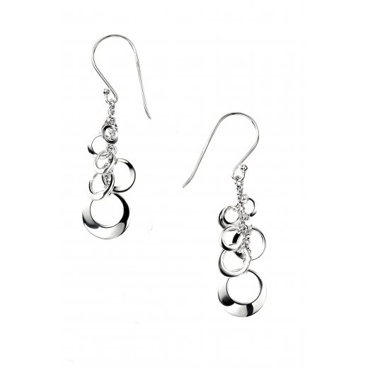 Cherubs Jewellery Silver Circle Design Cruz Earrings Drop Earrings With Hooks