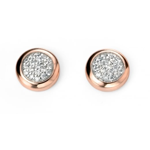 Cherubs Jewellery Silver Cubic Zirconia Pave Earrings with Rose Gold Plated Surround