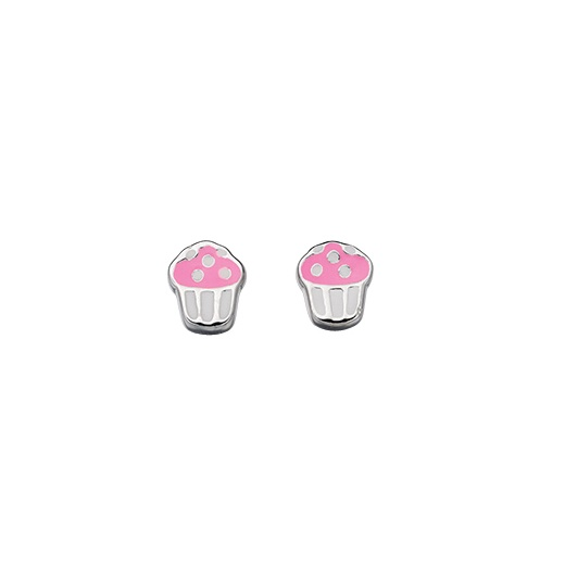 Cherubs Jewellery Silver Cup Cake Earrings With Enamel For Pierced Ears