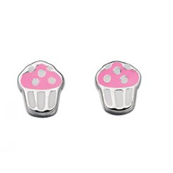Silver Cup Cake Earrings With Enamel For Pierced Ears