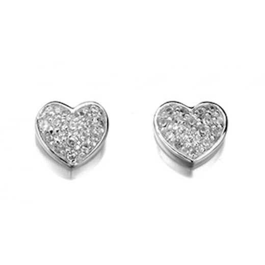 Cherubs Jewellery Silver CZ Heart Earrings