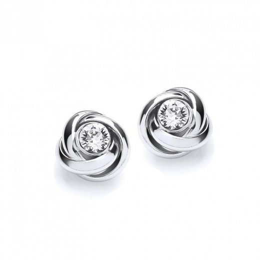 Cherubs Jewellery Silver CZ Knot Stud Earrings