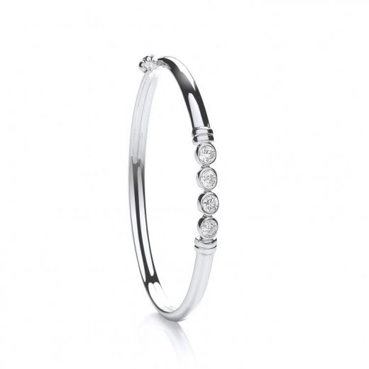 Cherubs Jewellery Silver CZ Set Baby Bangle With Safety Clasp