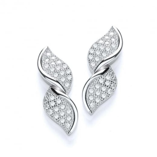 Cherubs Jewellery Silver CZ Twist Stud Earrings