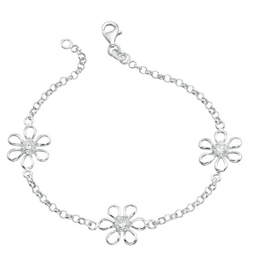 Cherubs Jewellery Silver Daisy Bracelet Set With Cubic Zirconia