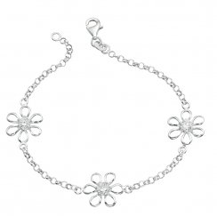 Silver Daisy Bracelet Set With Cubic Zirconia