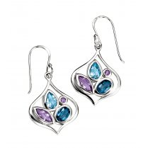 Silver Drop Earrings With Topaz & Amethyst