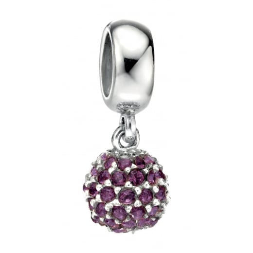 Cherubs Jewellery Silver Drop Purple Swarovski Crystal Bead