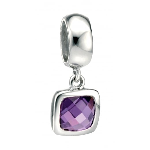 Cherubs Jewellery Silver Drop Spacer Charm Bead with Square Purple CZ
