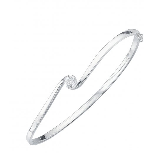 Cherubs Jewellery Silver Elegance Bangle With CZ