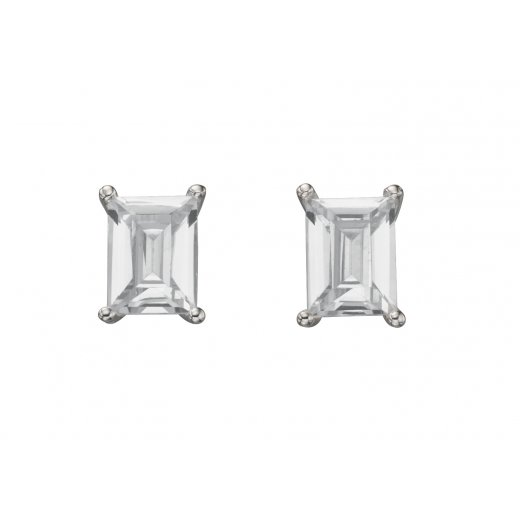 Cherubs Jewellery Silver Emerald Cut Cubic Zirconia Stud Earrings