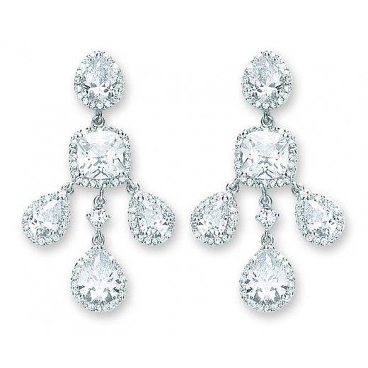 Cherubs Jewellery Silver Fancy CZ Chandiler Earrings For Pierced Ears
