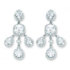Silver Fancy CZ Chandiler Earrings For Pierced Ears
