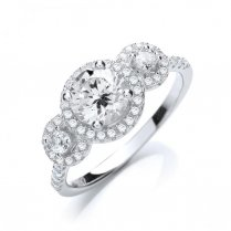 Silver Fancy Trilogy Ring Set With CZ Stones