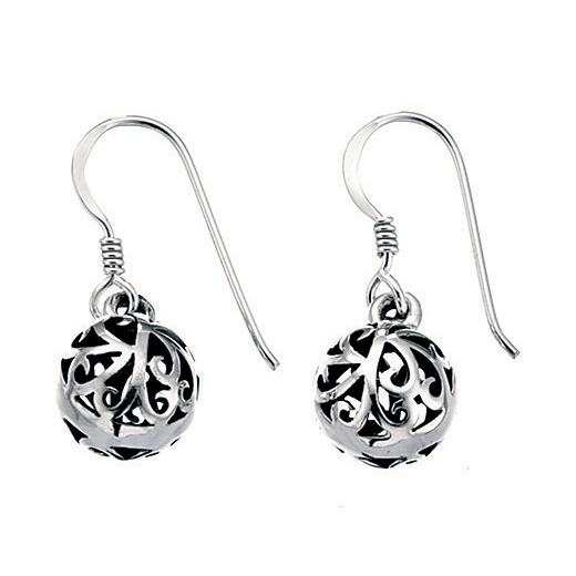 Cherubs Jewellery Silver filigree ball drop oxidised earrings