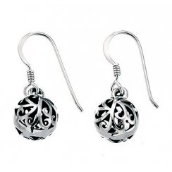 Silver filigree ball drop oxidised earrings