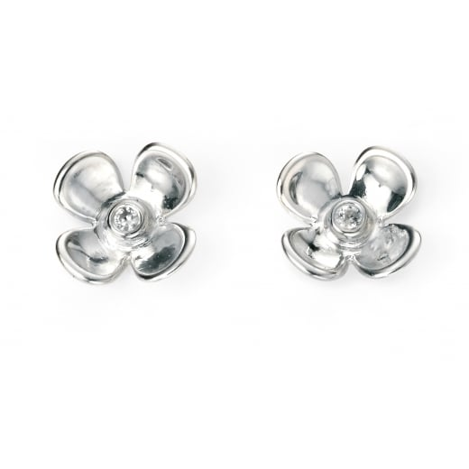 Cherubs Jewellery Silver Flower Stud Earrings With Cubic Zirconia