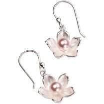 Silver Freshwater Pearl Cherry Blossom Earrings
