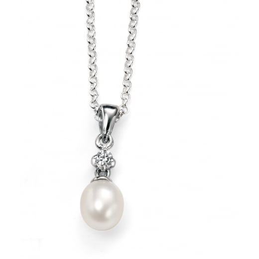 Cherubs Jewellery Silver Freshwater Pearl & Cubic Zirconia Pip Pendant With Adjustable chain