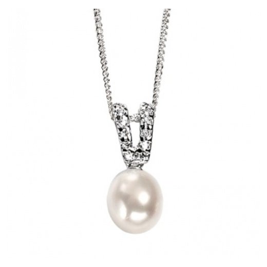 Cherubs Jewellery Silver Freshwater Pearl & Cubic Zirconia Sylvia Pendant