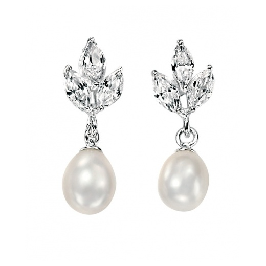 Cherubs Jewellery Silver &  Freshwater Pearl Drop Earrings With CZ