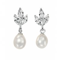 Silver &  Freshwater Pearl Drop Earrings With CZ