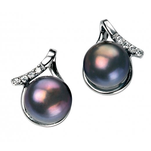 Cherubs Jewellery Silver Freshwater Pearl Nepal Earrings With CZ