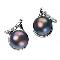 Silver Freshwater Pearl Nepal Earrings With CZ