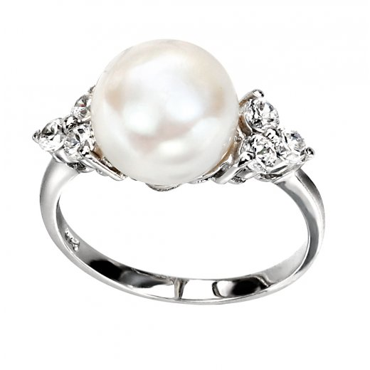 Cherubs Jewellery Silver Freshwater Pearl Ring with Cubic Zirconia Stones
