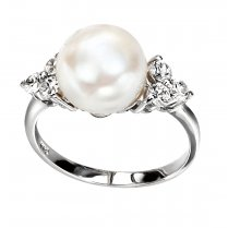Silver Freshwater Pearl Ring with Cubic Zirconia Stones