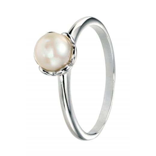 Cherubs Jewellery Silver Freshwater Pearl Ring with Flower Setting