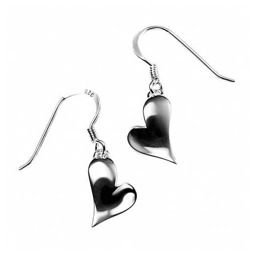 Cherubs Jewellery Silver Heart Drop Earrings