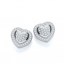 Silver Heart Stud Earrings Pave Set With CZ Stones