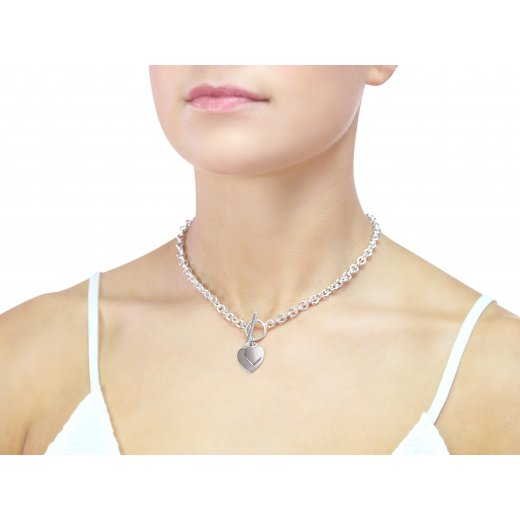 Cherubs Jewellery Silver Heart Toggle Necklace