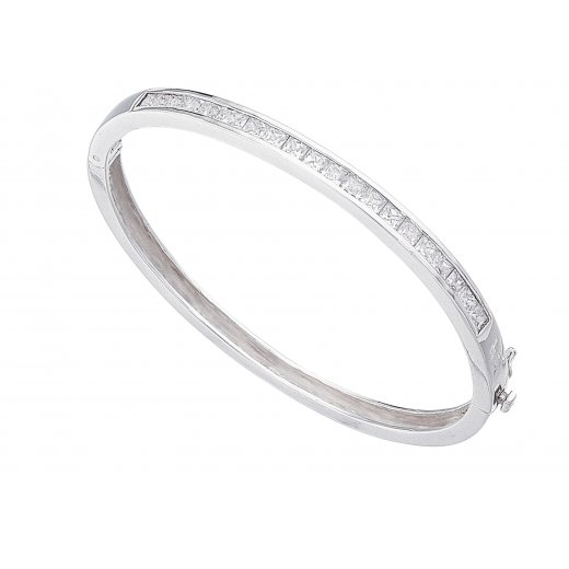 Cherubs Jewellery Silver Hinged Channel Set Princess Cut CZ Bangle