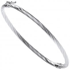 Silver Hinged Twist Bangle