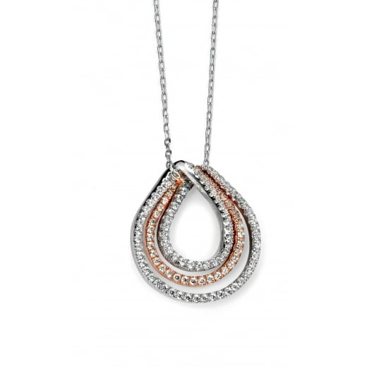 Cherubs Jewellery Silver loop pendant with rose gold pate and cubic zirconia pave set chain included