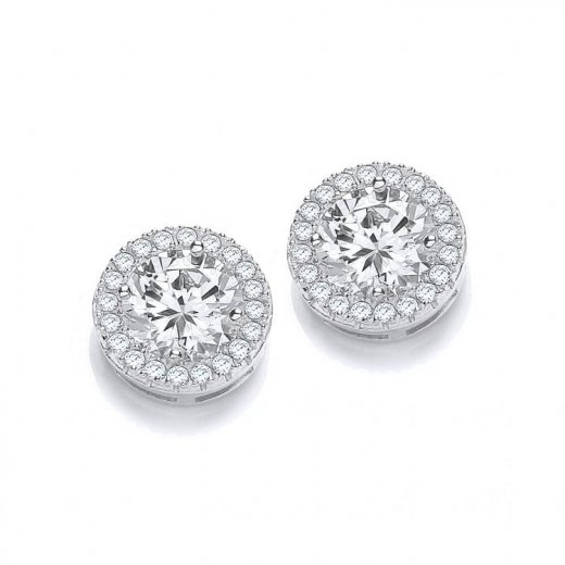 Cherubs Jewellery Silver Micro Pave Round CZ Earrings