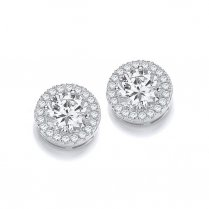 Silver Micro Pave Round CZ Earrings