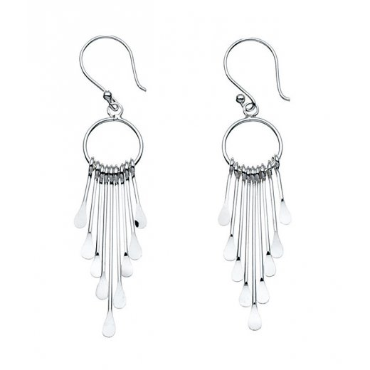 Cherubs Jewellery Silver multi stick drop hoop earrings on french hook