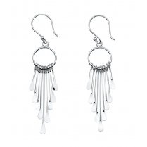 Silver multi stick drop hoop earrings on french hook