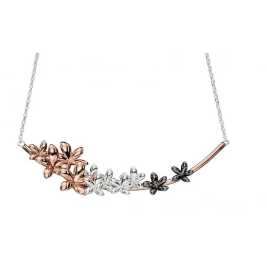 Cherubs Jewellery Silver ombre rose to oxidised plated flower necklace