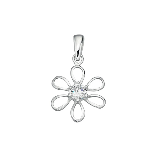 Cherubs Jewellery Silver Open Daisy Pendant Set With Cubic Zirconia On An Adjustable Chain
